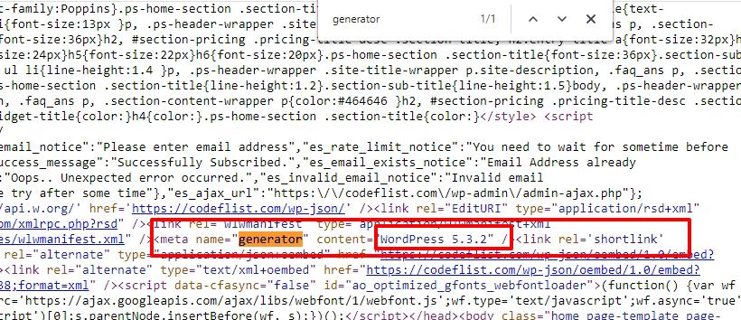 Check WordPress Version - HTML Meta tag