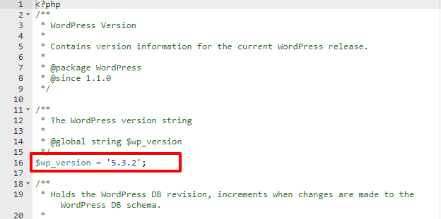 wp-version PHP