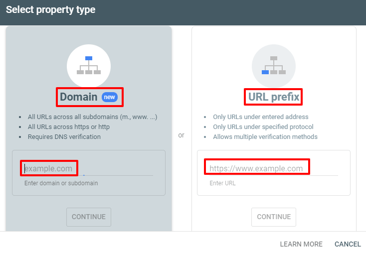 How to link search console to Google Analytics - domain - URL Prefix