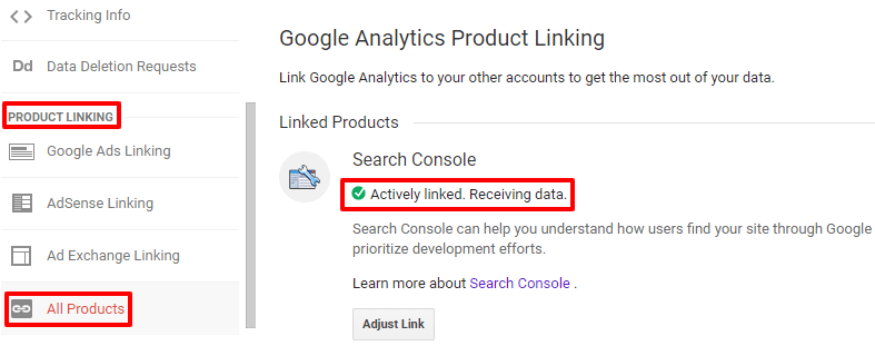 Link Google search console to analytics