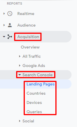 Link Search console to Analytics - Reports