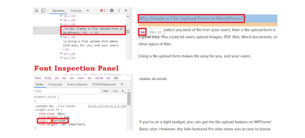 Font Inspection Panel