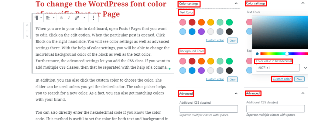 How to change font color in WordPress post or page