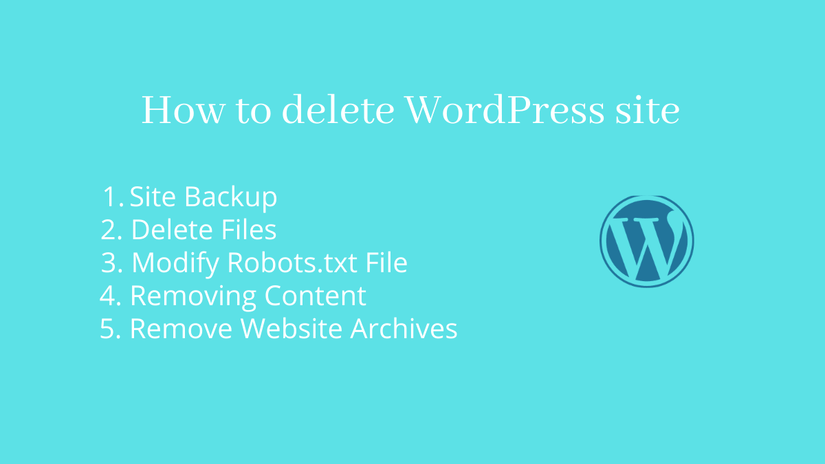 How To delete WordPress site permanently